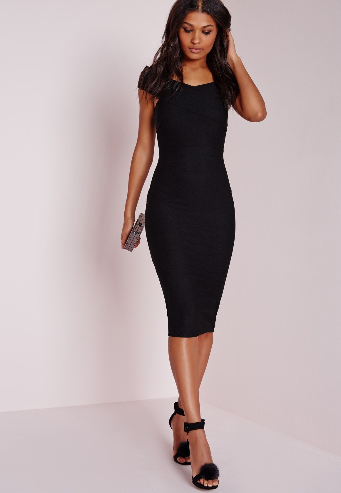 Missguided Crepe Bardot Midi Dress Black Robe Noire Mi