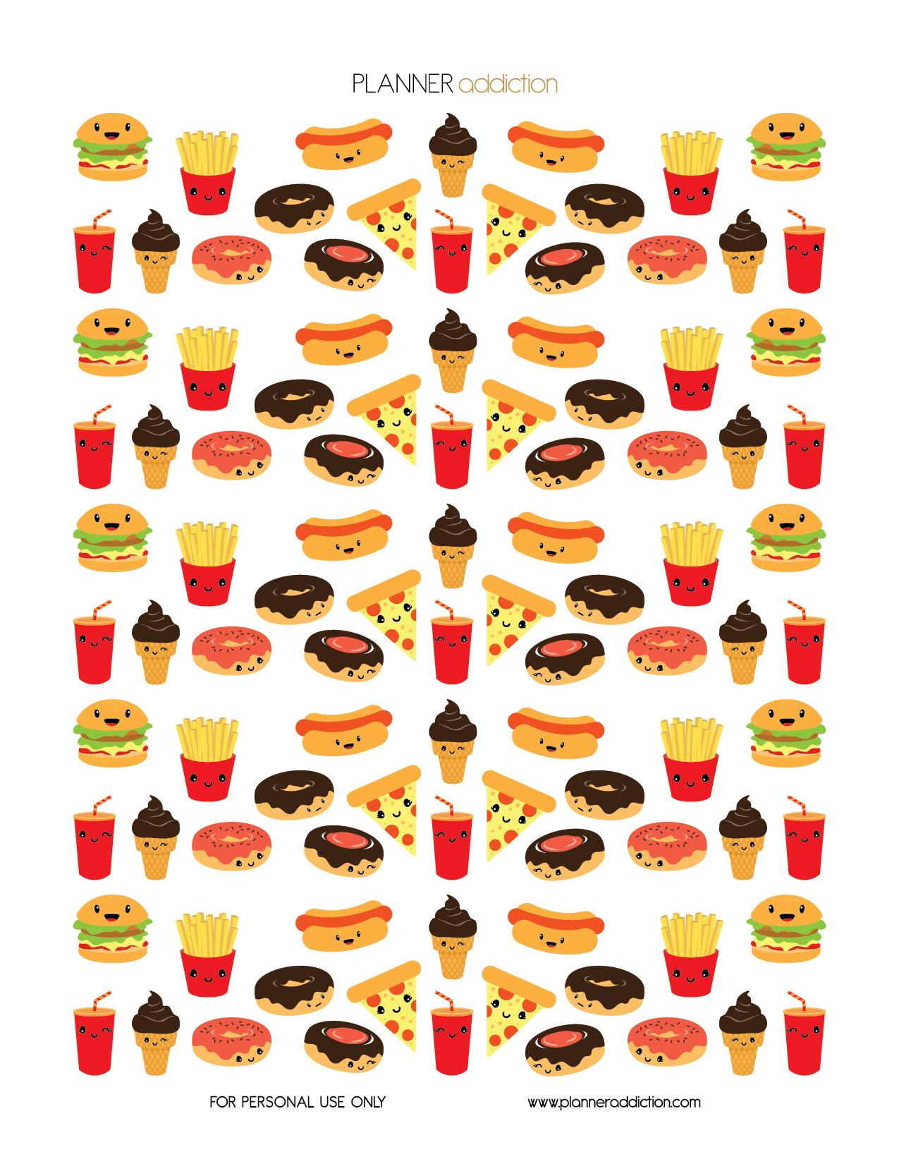 free printable planner stickers - kawaii fast food   freebies