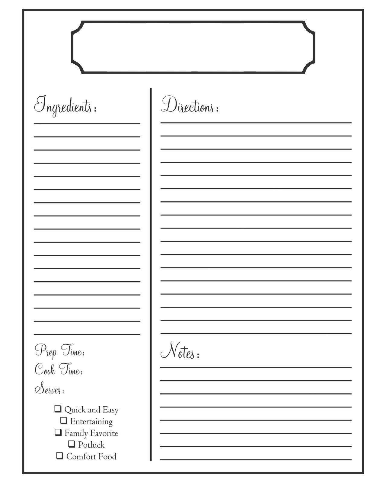 The Charming Home Need To Know Recipe Book Templates Recipe Template Regarding Full Page Recip Recipe Book Templates Recipe Template Recipe Cards Template