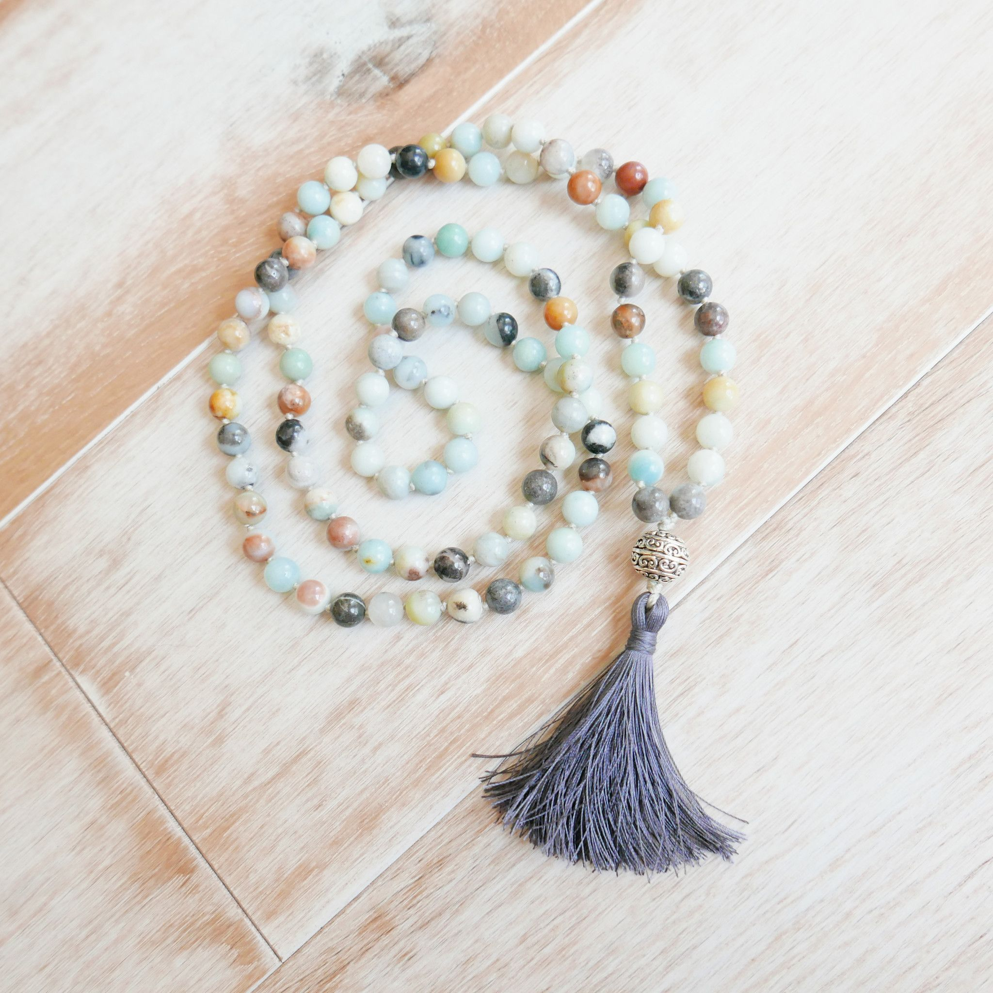 Amazonite Mala Handknotted 108 Mala Bead Necklace Beaded