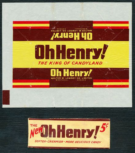 LOWNEYS Canada OH HENRY Chocolate Wrapper Vintage Old Candy Bar Package