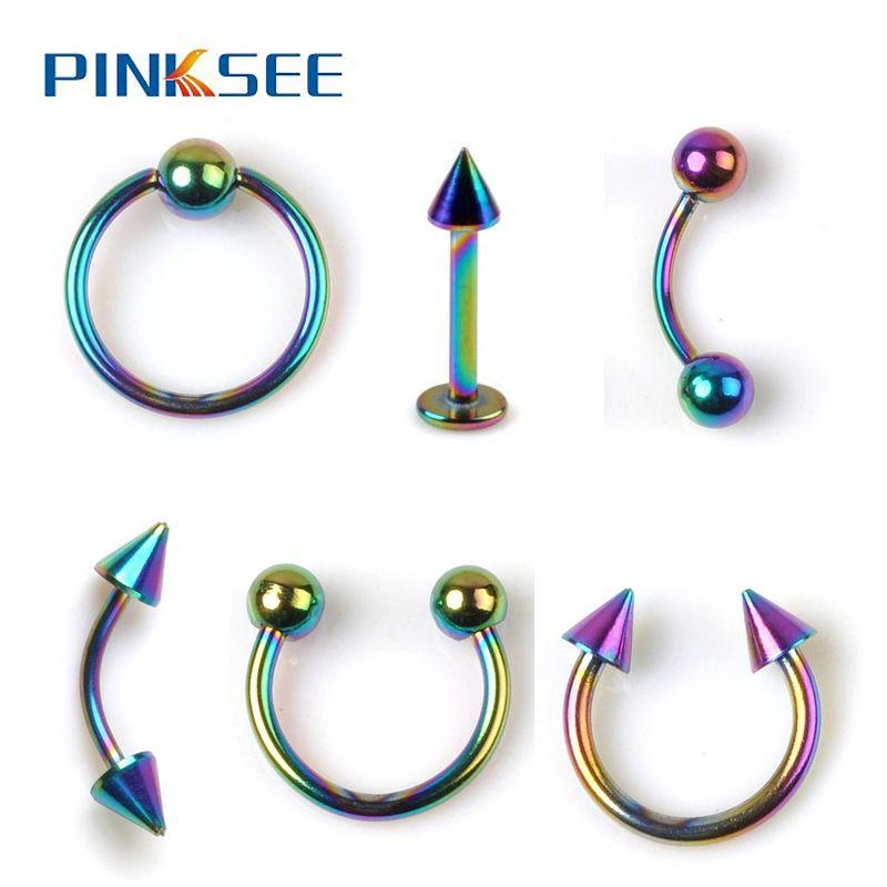 1 UNID Arco Iris de Acero Inoxidable Joyería Piercing Del Cuerpo Al ...