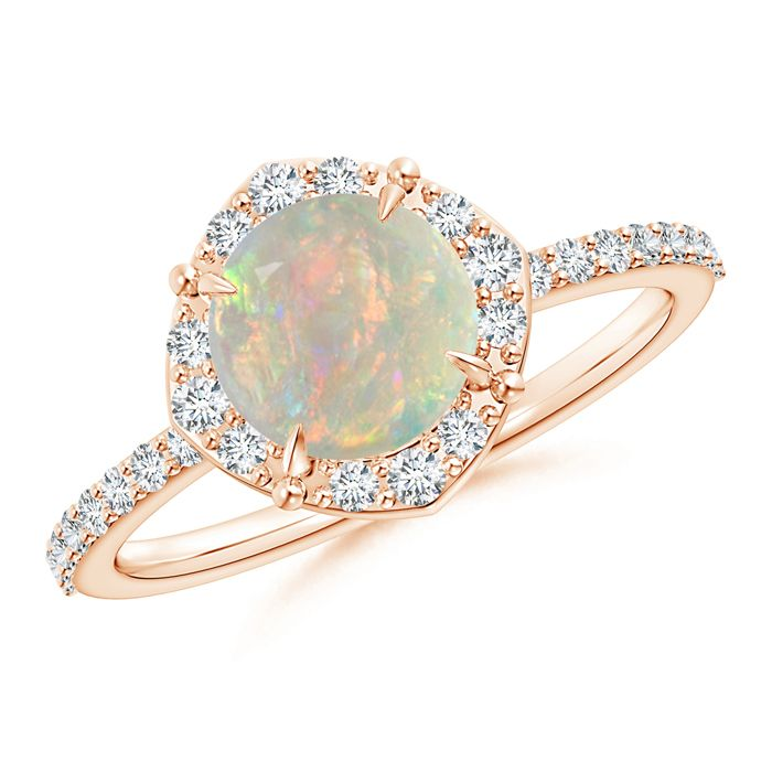 Angara Oval Opal Ring with Matching Diamond Band in Yellow Gold fOdCXx