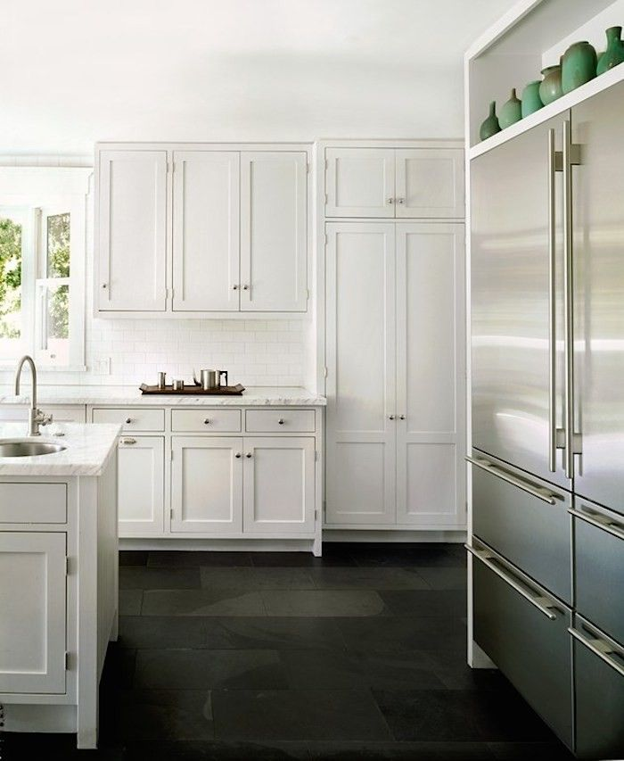 Kitchen Floor Tiles For White Cabinets: Subzero Refrigerator On Pinterest