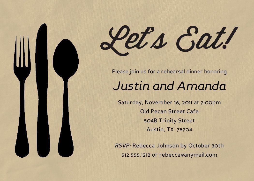 Silverware Dinner Invitation Printable or Printed (w
