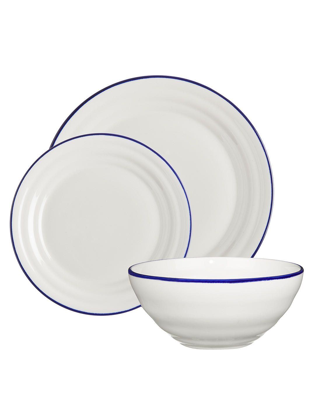 John Lewis Partners Harbour Blue Rim Dinnerware Set White Blue 12 Pieces Dinnerware Set Crockery Design White Dinnerware Set