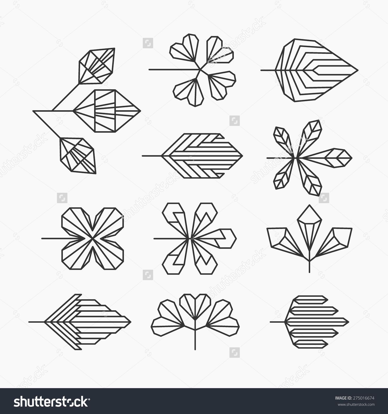 Hipster geometrical leaves set of isolated symbols logos hipster geometrical leaves set of isolated symbols logos biocorpaavc Choice Image
