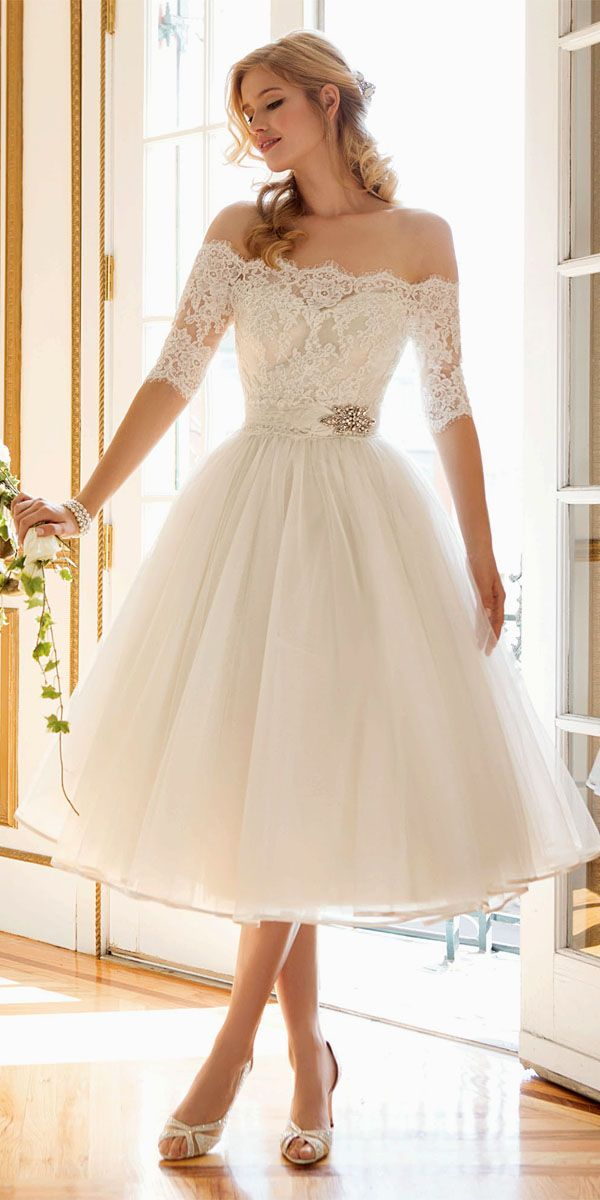 24 gorgeous tea length wedding dresses tea length for Short fluffy wedding dresses