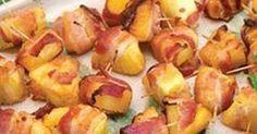 Pinchitos de piña con bacon. Aperitivo de pinchos de piña con bacon. Un contraste delicioso. Receta participante en el concurso de recetas del mes de diciembre de Frescamp. Autor: Cristina Marín