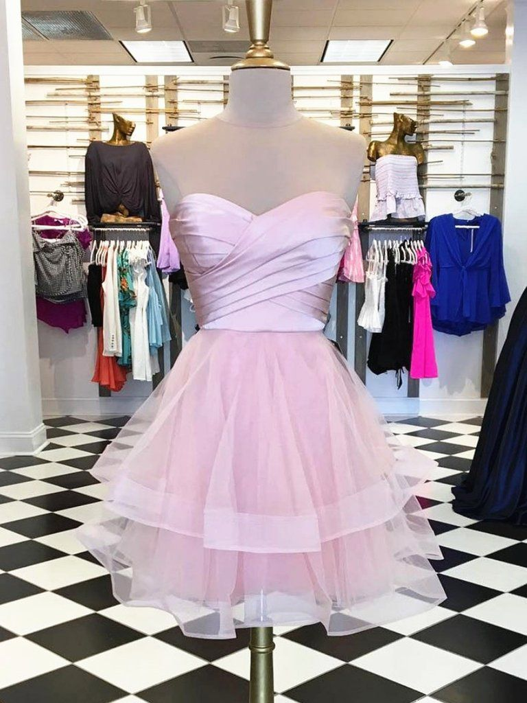 Custom made sweetheart neck short pink prom dresses short pink