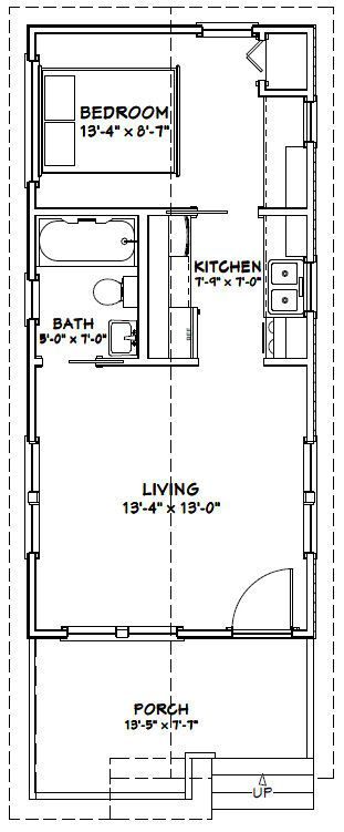 Small Apartment Kitchen Floor Plan 14x30 tiny house -- #14x30h1a -- 419 sq ft - excellent floor plans