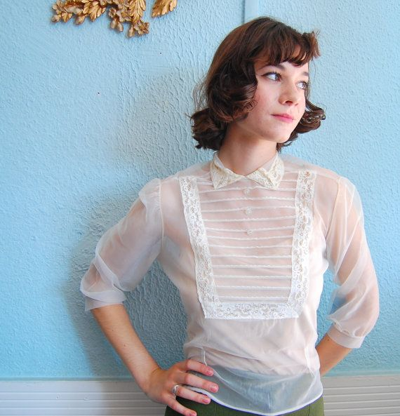 Vintage 1950s Blouse  50s Sheer Blouse  White by concettascloset