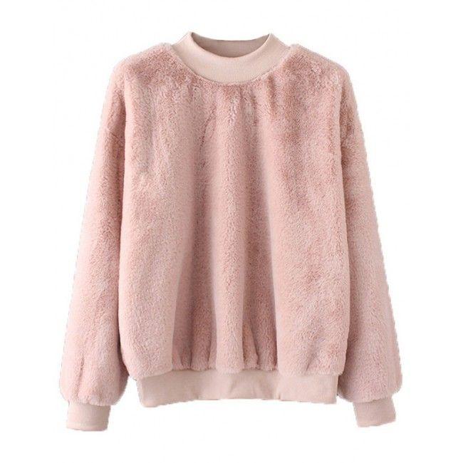 Pastel Pink Faux Fur Sweater | Brenda-Shop Pullovers | Pinterest ...