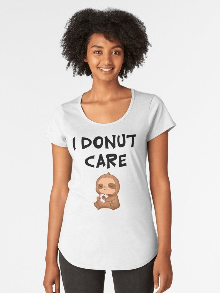 'I donut care. Munchies o'clock. Funny doughnut pun. Healthy sweet diet. Comfort food. Cute happy little lazy adorable hungry baby sloth cartoon. Carbs lover. Guilty pleasure.' T-Shirt by MerveilleDesign - #adorable #Baby #Carbs #Care #cartoon #clock #Comfort #Cute #diet #Donut #doughnut #food #Funny #guilty #Happy #healthy #hungry #Lazy #Lover #MerveilleDesign #munchies #oclock #Pleasure #Pun #Sloth #Sweet #TShirt