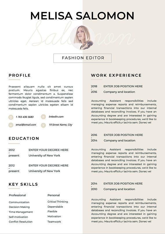Resume Template | CV Template | Resume | CV design | Teacher resume ...