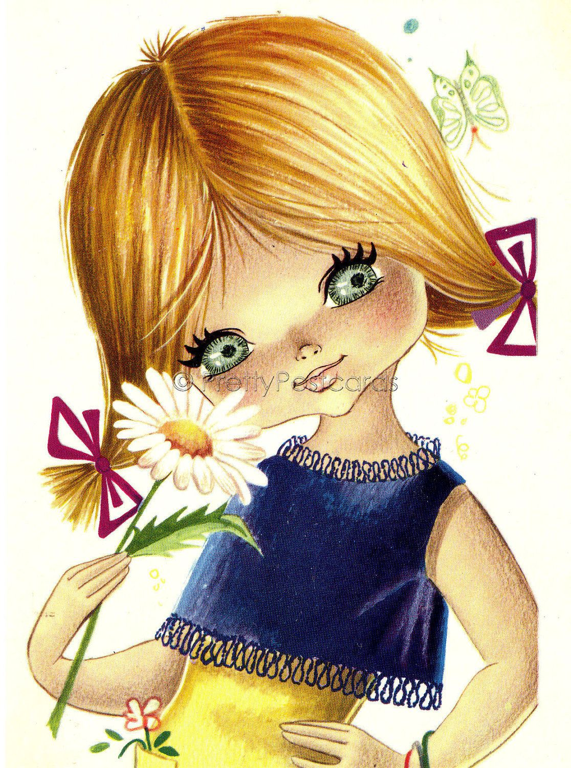 Big Eyed Girl with Daisy, Vintage 70s  postcard.