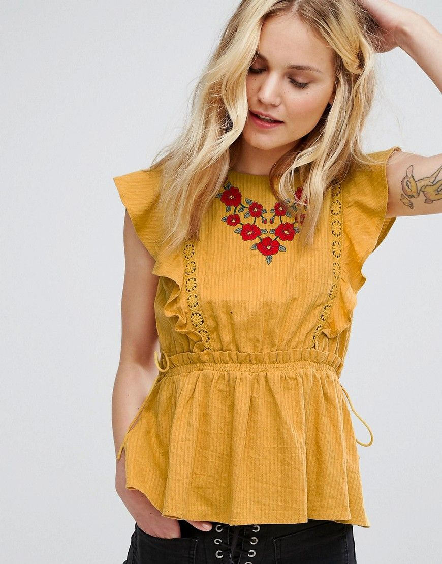 df255c4e6c6e3a Moon River Embroidered Ruffle Sleeveless Top - Yellow