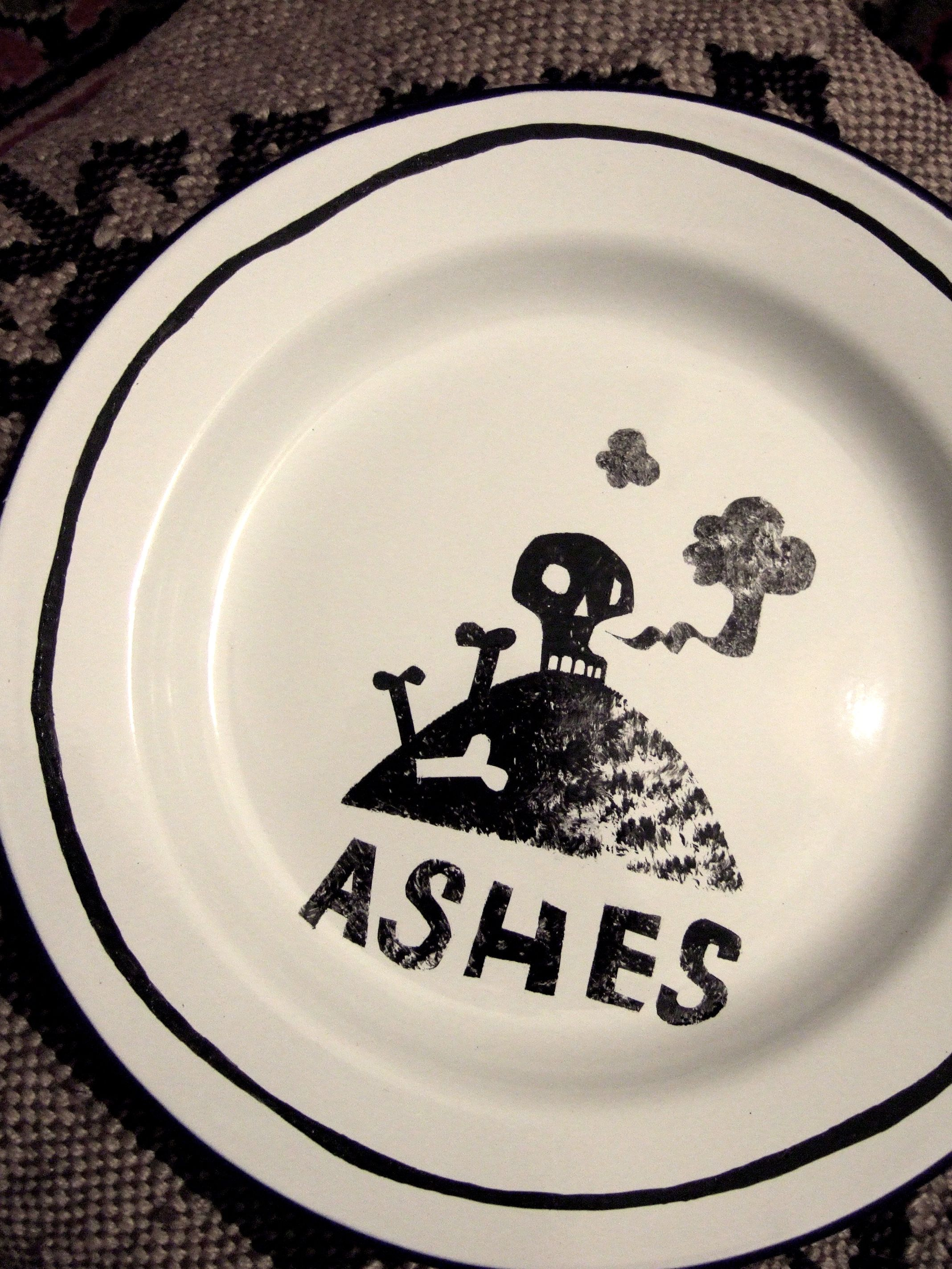 Enamelware plate decorated with ceramic ink. From the 'Hansel & Gretel' series by Clive Hicks Jenkins.