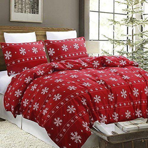 Snowflake Duvet Cover Set Christmas Season For Adults Christmas Bedding Set Red Duvet Cover Christmas Bedding