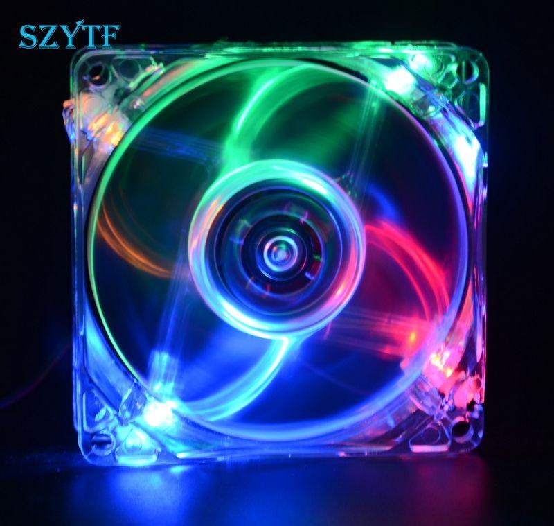 Pc computer fan case koelventilator unit fan 8025 8 cm met led ...