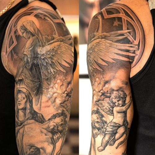7f78dc3c5ba51 Cherub & angels sleeve tattoo | Tattoos & Piercings | Angel sleeve ...