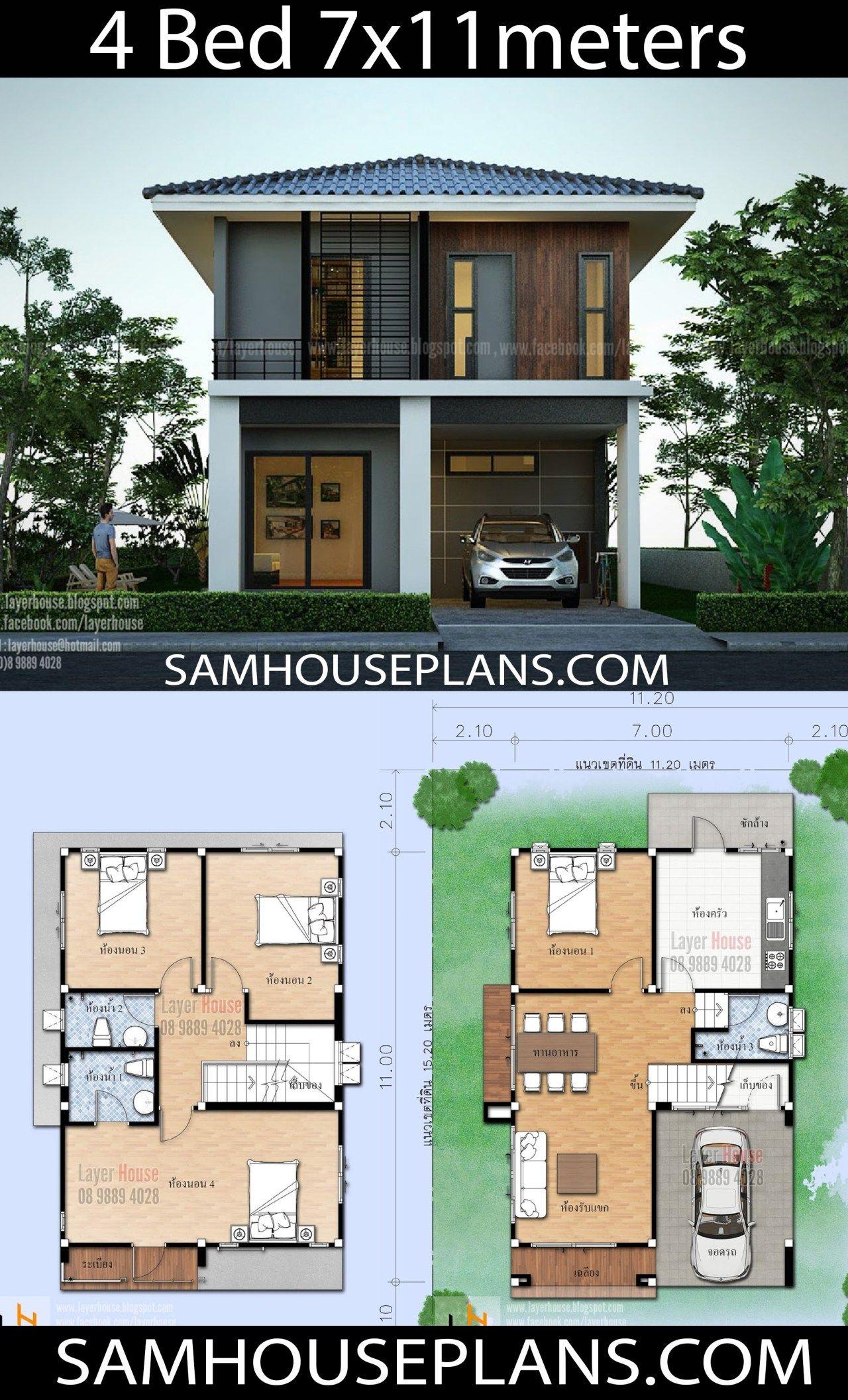 House Plans Idea 7x11 M With 4 Bedrooms Sam House Plans House Construction Plan Model House Plan Architectural House Plans