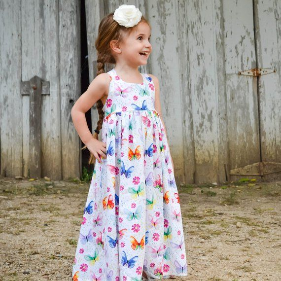 1d8e6d778701 Toddler Maxi Dress - Girls Maxi Dress - Butterfly Dress - Girls Long Dress  - Toddler Sundress - Todd