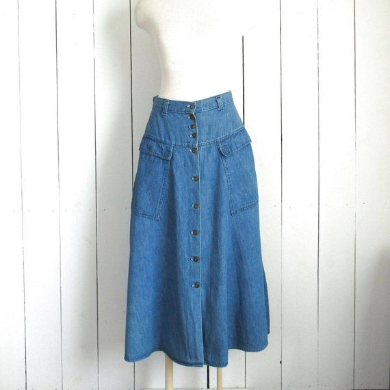 84fb62de30d Denim Maxi Skirt 90s Ankle Length Button Up Vintage Candies Jean Skirt with  Pockets 27 Inch Waist Me