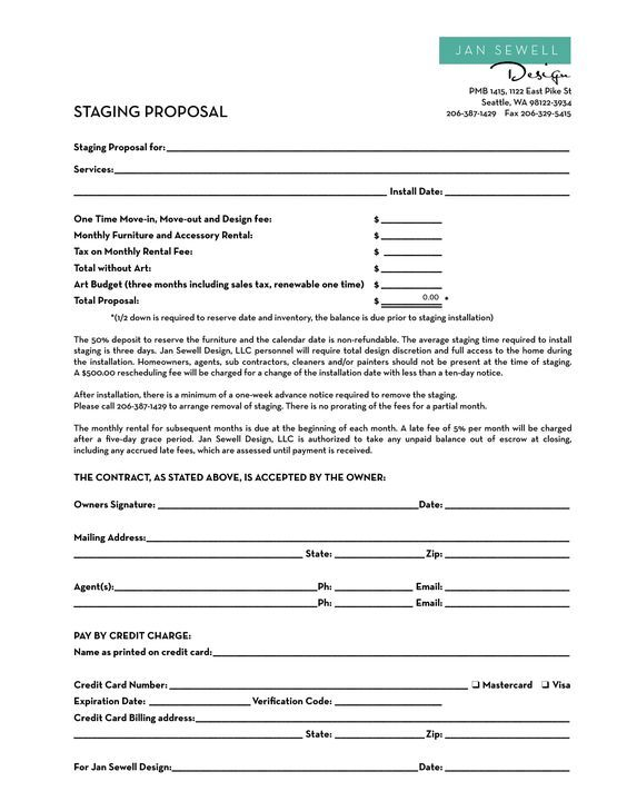 image result for home staging contract template