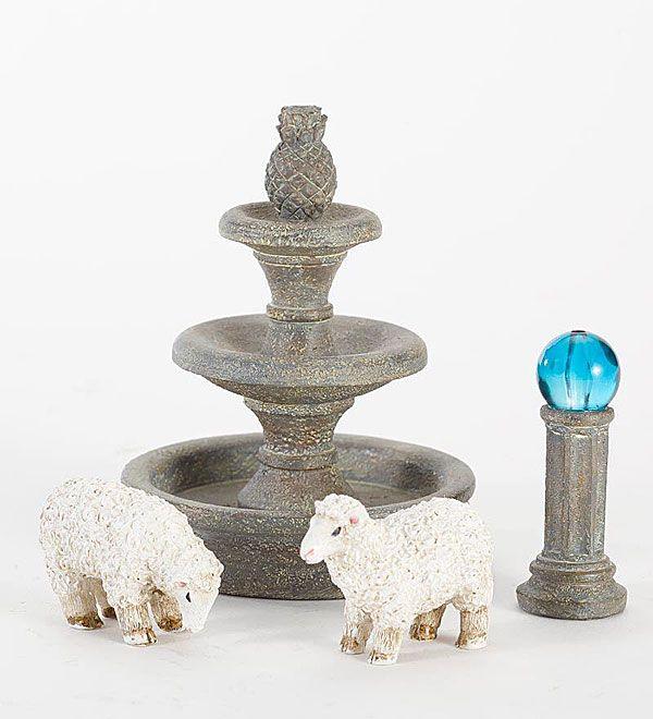 Miniatura jard n juego de accesorios con las ovejas bola de mirada y de la fuente fuentes de Accesorios de jardin
