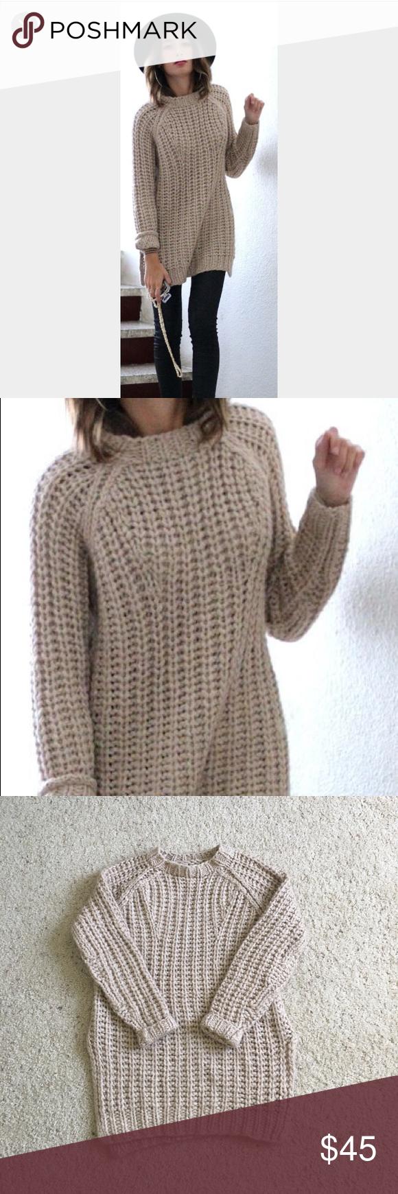 Zara Hand Knit Chunky Tunic Sweater Sz Med Hand knit Tunic sweater ...