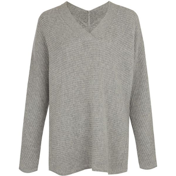 Vince Grey Rib Double V-Neck Cashmere-Blend Jumper (£355) ❤ liked on Polyvore featuring tops, sweaters, slouchy grey sweater, vince sweaters, ribbed sweater, oversized grey sweater and long sleeve sweaters