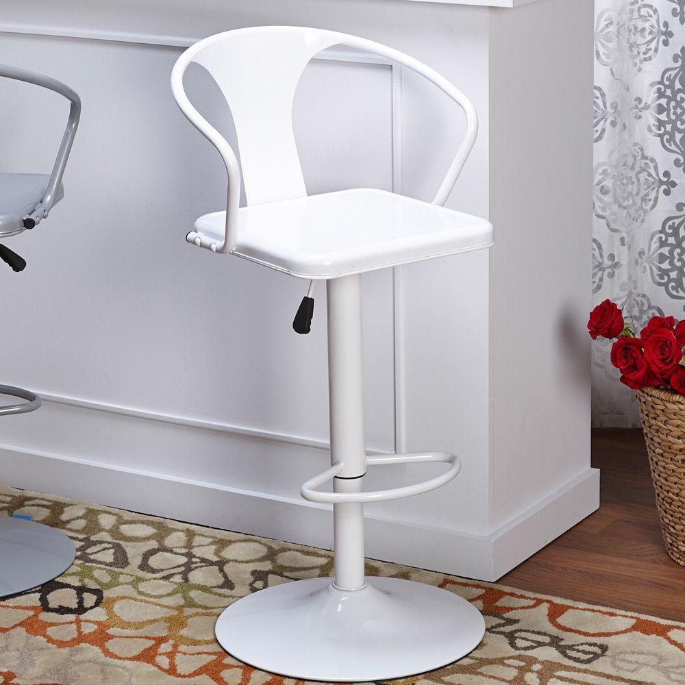 Simple Living Retro Max Adjustable Height/ Swivel Bar Stool (White ...