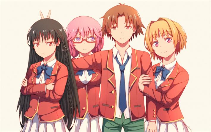 Download Wallpapers Youkoso Jitsuryoku Shijou Shugi No Kyoushitsu E Classroom Of The Elite Anime Manga Japanese Manga Besthqwallpapers Com Anime Classroom Anime Friendship Anime
