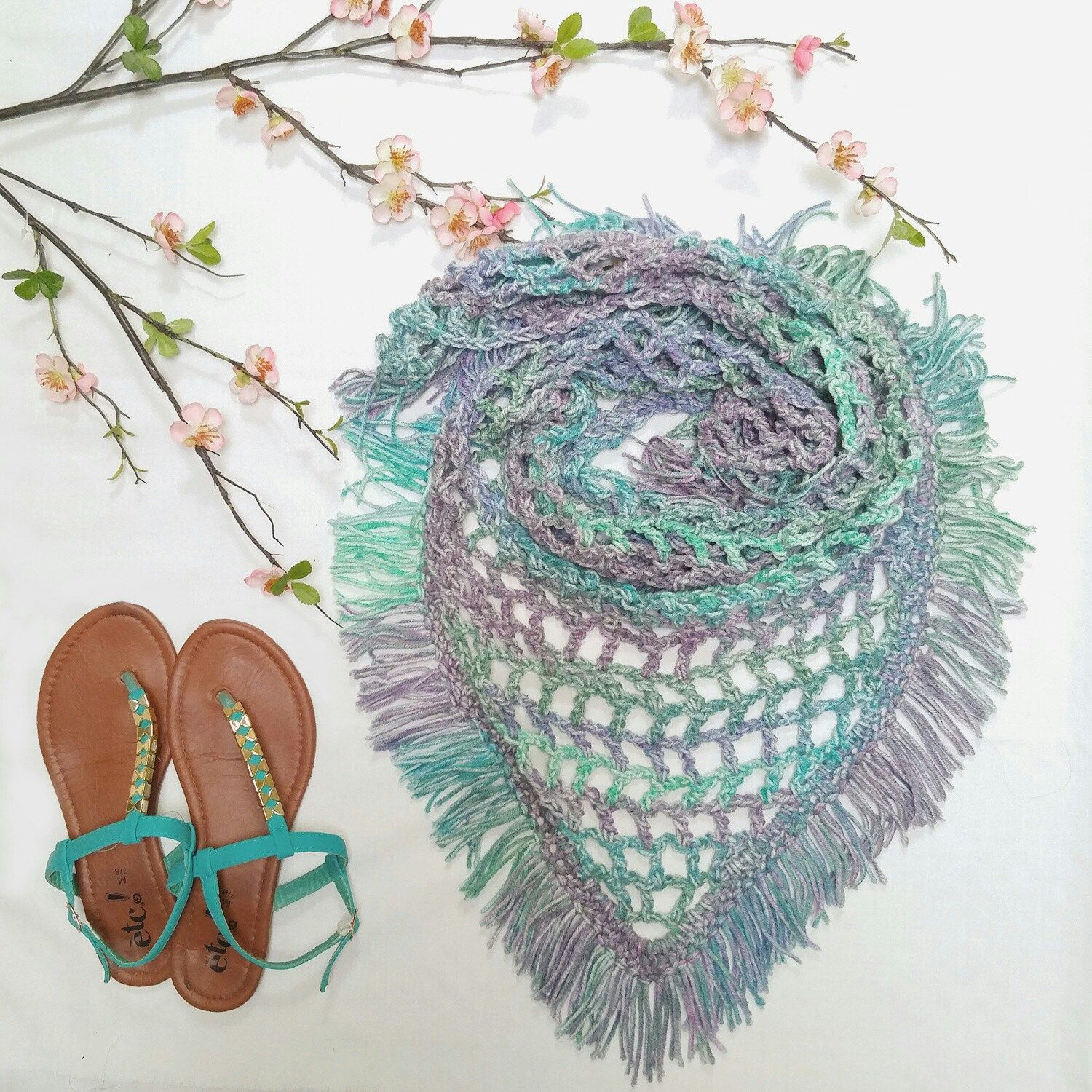 Dreaming of Spring in this flatlay of my latest item up in my Etsy shop! ♥ #etsy #crochet #fringe