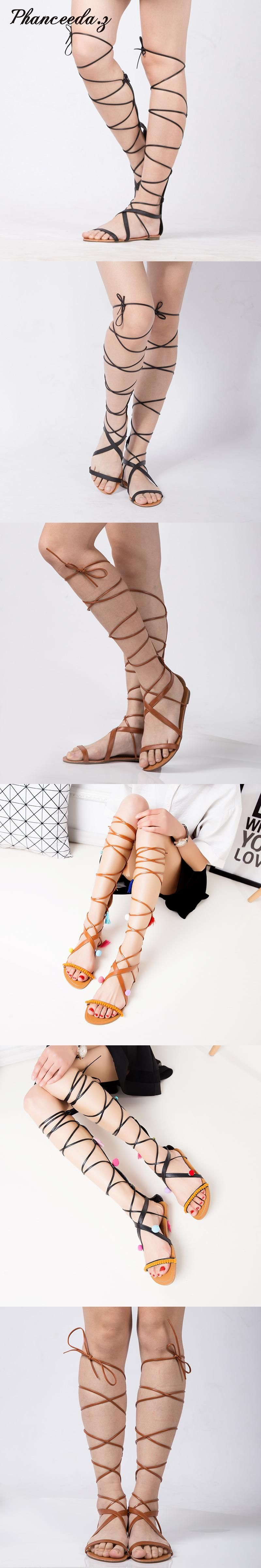 8a1edc89d902 New 2017 Shoes Women Sandals Casual Flat Lace Up Sexy Knee High Boots  Gladiator Tie String