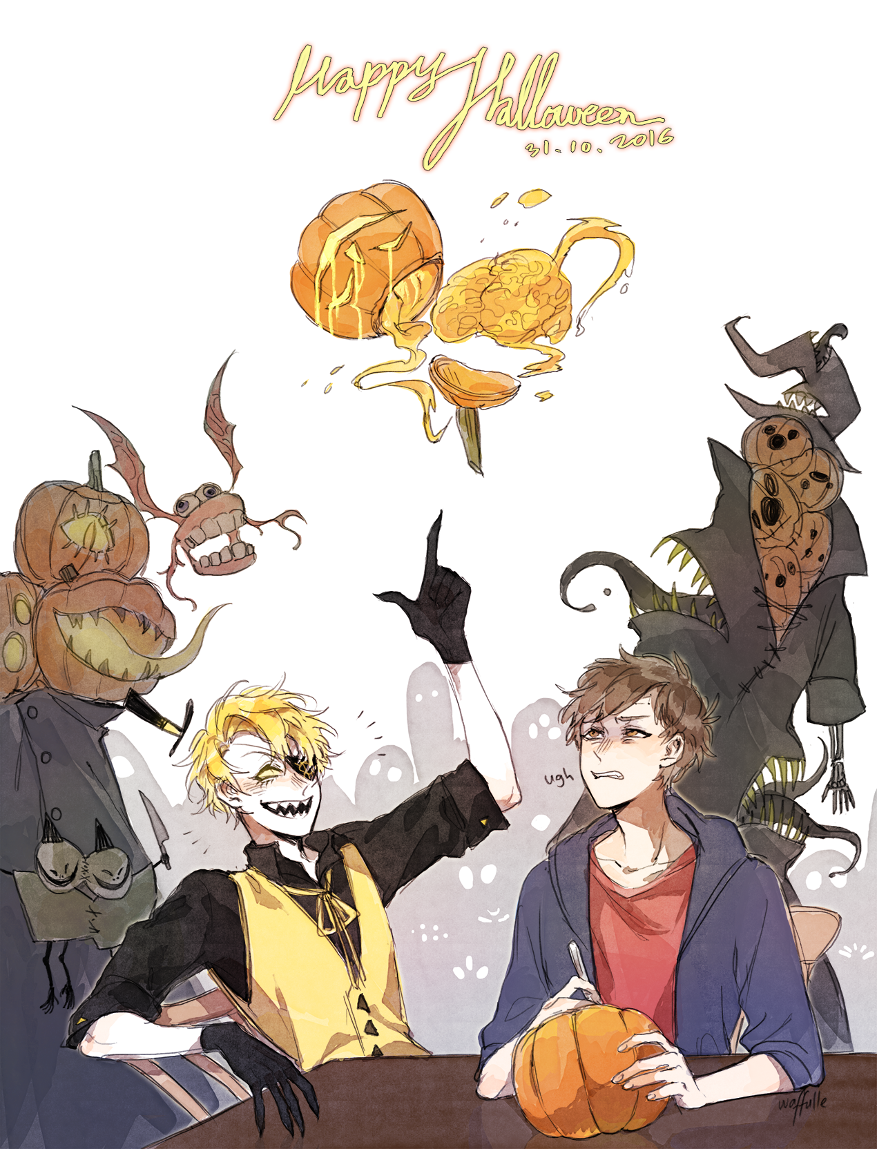 """honbie: """" idk what i've just drawn but happy halloween everyone"""