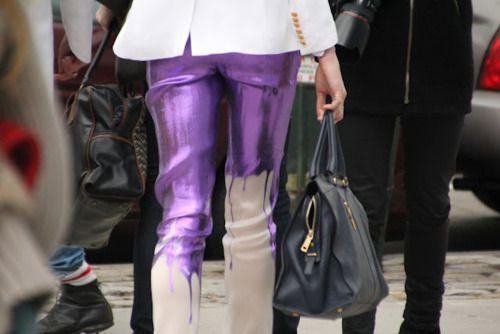 Metallic Purple Drip Pants