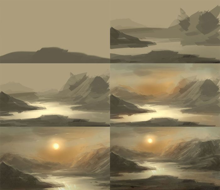 Digital Painting Tutorial Basic For Water Landscape Digital Painting Landscape Painting Tutorial Digital Painting Tutorials