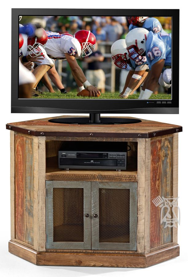 Solid Pine Wood Antique Corner TV Stand in Multi-colored Finish
