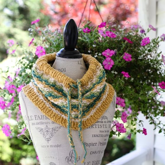 Loom Knit Drawstring Cowl Pattern Cotton Neckwarmer With Easy