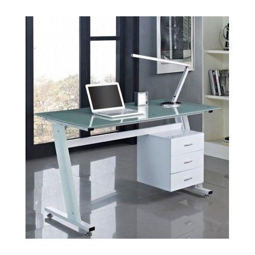 office computer desk glass top table furniture workstation side drawers laptop