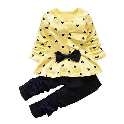 2Pcs Girls Kids Love Heart Bowknot T-shirt Tops Pants Trousers Outfits Sets