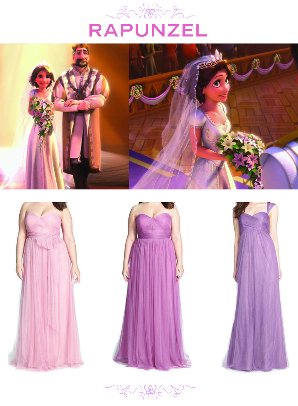 6 Bridesmaid Sets Inspired By Disney Weddings Tangled Rapunzel Lavender Purple Bridesmaids Dresses