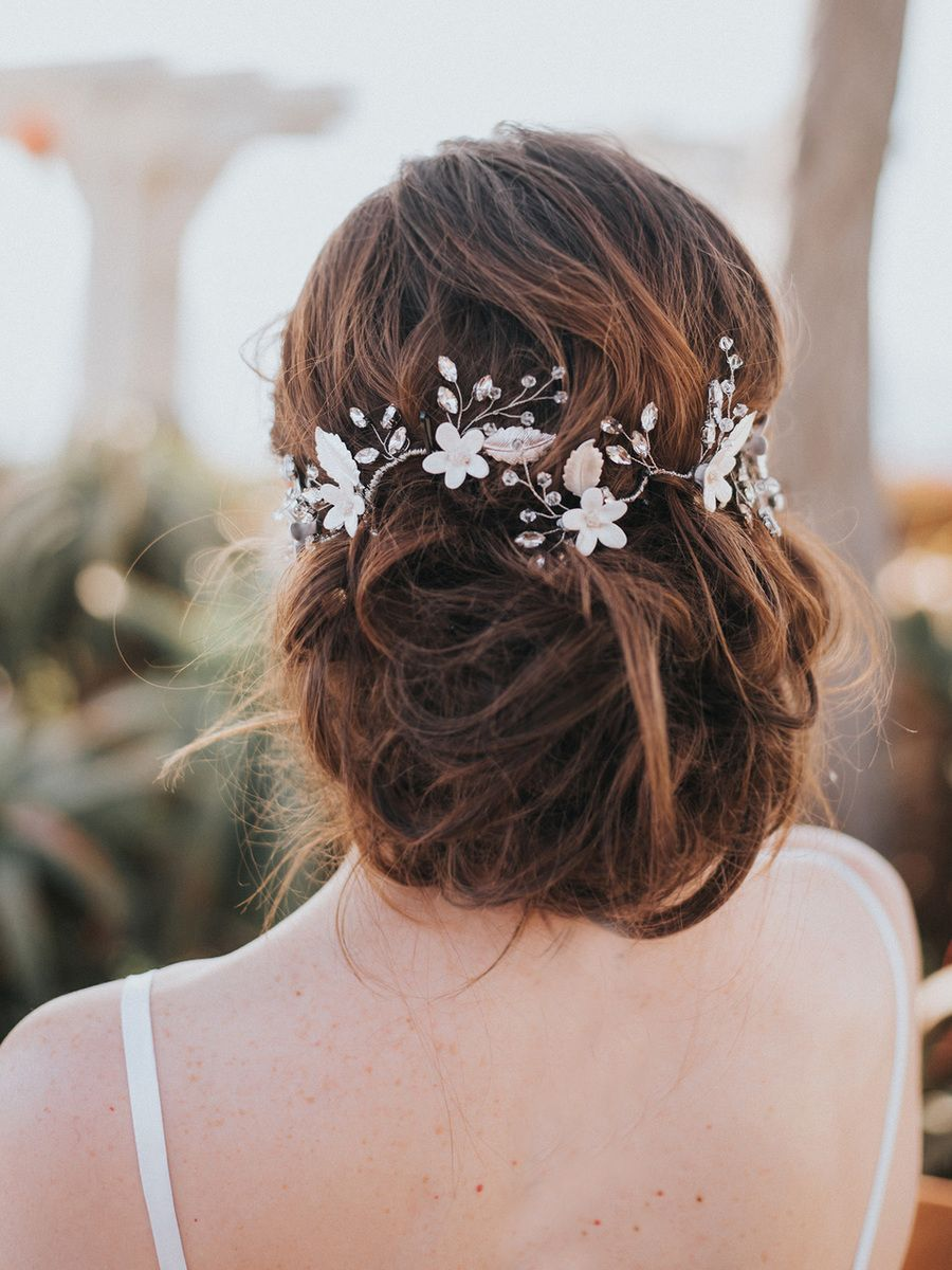 Lindsay Bridal Hair Vine ~ White or Ivory with Silver, Gold or Rose Gold #bridalhairflowers