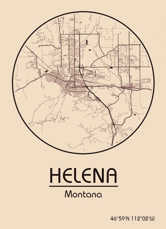 Karte / Map ~ Helena, Montana - Vereinigte Staaten von Amerika ...