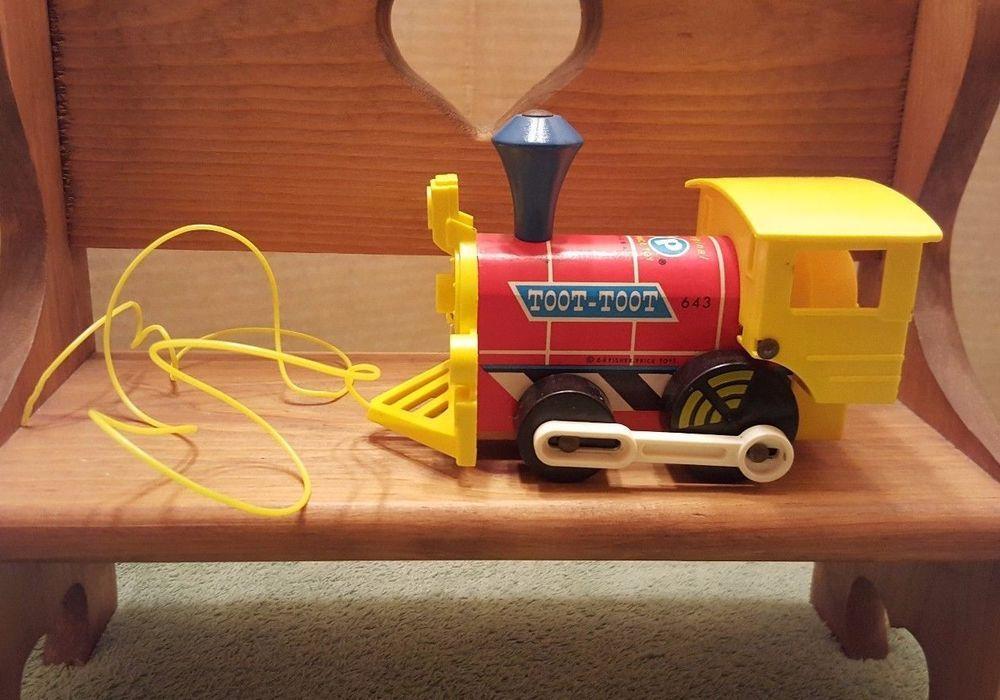 Vintage Fisher Price Toot-Toot # 643 Pull Toy Train w/ Original Cord #FisherPrice