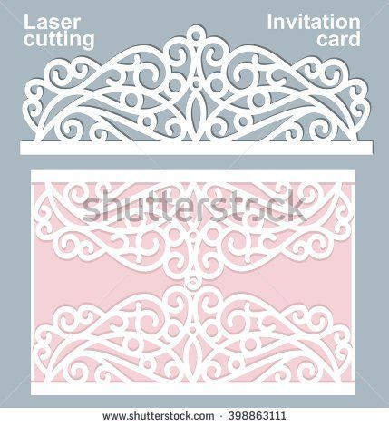 Vector Die Laser Cut Wedding Card Template Wedding Invitation