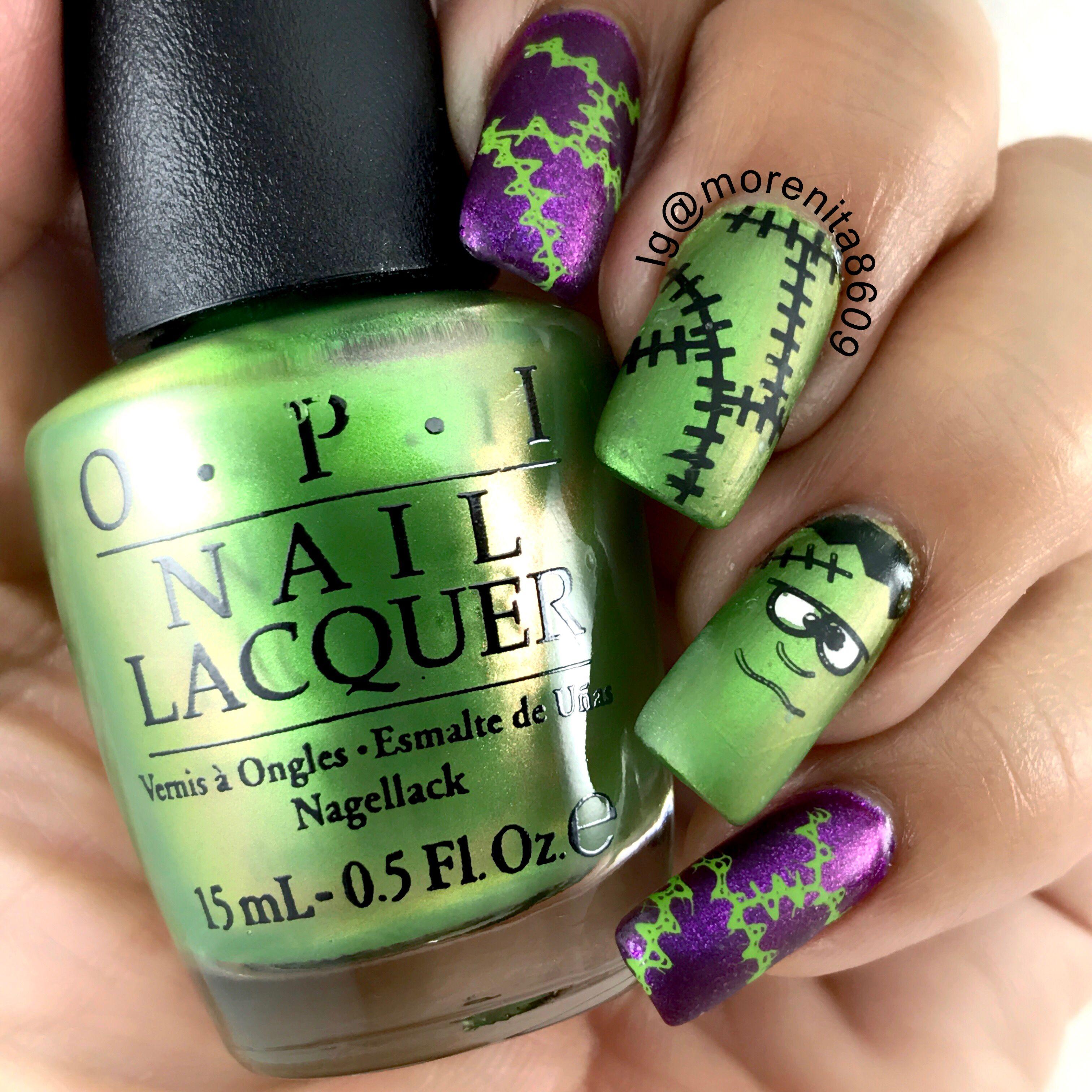 Frankenstein Nails by @morenita8609 #halloween #nailart ...