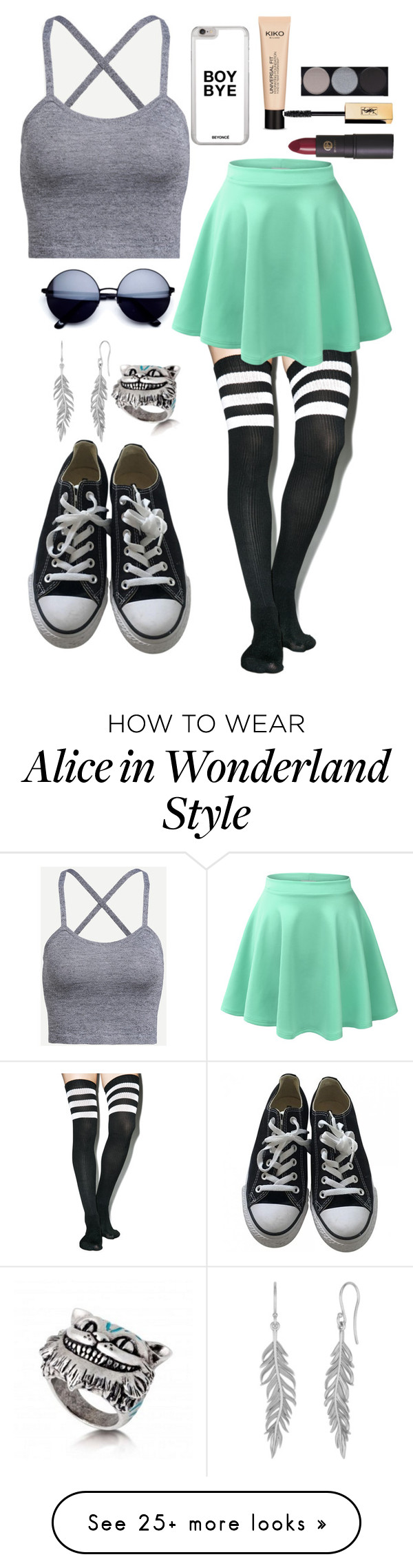"""""""Untitled #1496"""" by idontlikepepole on Polyvore featuring Leg Avenue, LE3NO, Converse, Lipstick Queen and Witchery"""